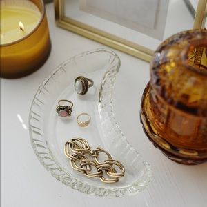 Vintage Clear Glass Crescent Jewelry Dish